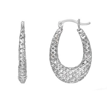 Sterling Silver with Rhodium Finish Fancy Oval Hoop Earrings