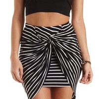 Twisted Knot High-Low Tulip Skirt by Charlotte Russe - Black/White