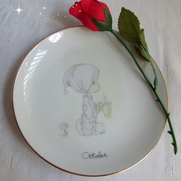 Precious Moments October Plate by Enesco Collectible Plate 1983 Jonathan and David