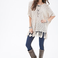 Fringed Open-Knit Sweater