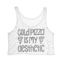 Cold Pizza Is My Aesthetic Tank Top Crop