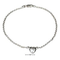 """Sterling Silver 9"""" Italian 2MM Rope Chain With Heart Anklet"""