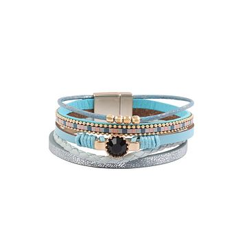 HDB3157 - MULTI LINE LEATHER CHARM WITH MAGNETIC LOCK BRACELET