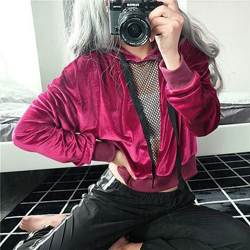 Hoodies Tops Winter Thicken Sexy V-neck Hollow Out Patchwork Lace Velvet Christmas Hats [73856450575]