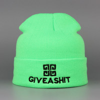 GIVE A SHIT Beanie Warm Winter Wool Knitted Thick Slouchy Ski Cap Womens & Mens Neon Green Cuffed Skully Hat