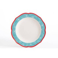 The Pioneer Woman Happiness Red Rim Decorated Scallop Shape Dinner Plate - Walmart.com