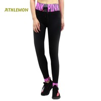 Letter Printed Pink Leggings Women High Waist Workout Running Sport Pants Women Fitness Gym Push Up Legging Yoga Plus Size Tight