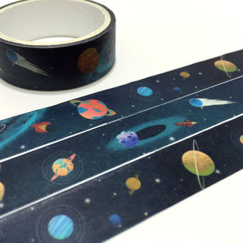 Outer space sticker tape 3M outer space theme deco masking tape Planetary tape SOLAR System washi tape kids party planner sticker diary gift