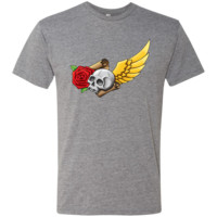 Skull, Rose, Wing And Parchment Men's Triblend T-Shirt