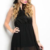 Black Lapel Sleeveless Dress with Buttons