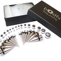 bOdfx Stainless Ear Stretching Kit. Plugs & Tapers Set  - 36pc Gauges 14g-00g.