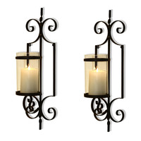 Brown Iron Vertical Wall Hanging Accents Candle Holder Sconce Holds One Pillar Candle each (Set of Two)