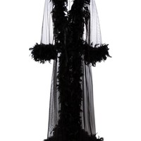 Folies By Renaud Feather Trim Sheer Robe - Farfetch