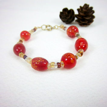 Red Glass Gold Bracelet Earth Tones Chinese Asian Inspired Jewelry