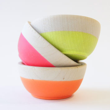 Color Dipped Mini Bowls, Neon Trio