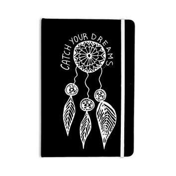 """Vasare Nar """"Catch Your Dreams Black"""" White Typography Everything Notebook"""