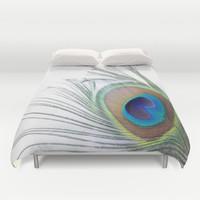 Peacock Feather Duvet Cover by Colorful Art