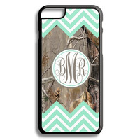 Mint Double Chevron Camo Monogram iPhone 5S 5C 6/6S and Galaxy Custom Personalized Case Cover