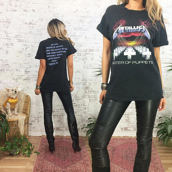 Vintage 90s METALLICA Master Of Puppets Concert Tour T Shirt    Heavy Metal Band Tee    Size Medium