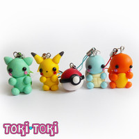 Pokemon Charms Pikachu Bulbasaur Charmander Squirtle Pokeball Polymer Clay Cute Kawaii Chibi Anime Nintendo Videogame Geek Gamer