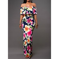 Fashion Multicolor Flower Print Frills Off Shoulde Off Strapless Maxi Dress