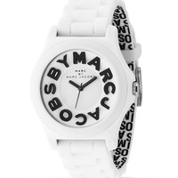 "MARC BY MARC JACOBS ""Sloane"" White Rubber Watch, 40 mm 