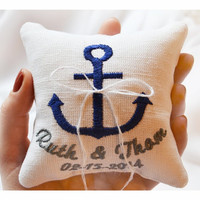 Nautical Embroidered Wedding ring pillow , anchor pillow wedding pillow , ring pillow, ring bearer pillow with Custom embroidery (LR7)