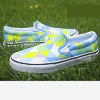 """Vans"" Casual Shoes   Blue geometry print  low tops Shoes"