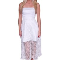 Beautifly Women's Strapless White Semi-sheer Hem Evening Dress