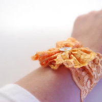 Burnt ORANGE Lace Wrist Cuff with Lace Flower and Vintage Button Fashion accessory Women Teens MANY COLORS