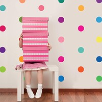36 Rainbow of Colors Polka Dot Wall Decals, Award-winning Matte Fabric Removable, Reusable, Repositionable