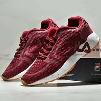 FILA new tide brand mesh breathable men and women sports shoes running shoes red