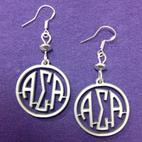"Alpha Sigma Alpha Sorority Greek ""Mini"" Earrings on Sterling Silver Earwires"