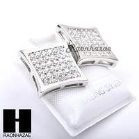 Sterling Silver .925 Lab Diamond 14mm Square Screw Back Earring SE025S