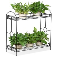 Topeakmart 2-Tier Metal Flower Stand Plant Stand Rack w/Tray Design Black