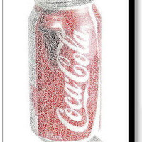Coca-Cola Coke Can Word Mosaic INCREDIBLE Framed 9X11 Limited Edition Art w/COA