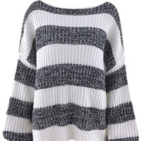 Get Back To Basics Black White Horizontal Stripe Pattern Long Lantern Sleeves Boat Neck Loose Pullover Sweater
