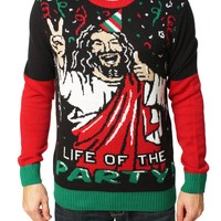 Ugly Christmas Sweater Men's Jesus Is The Life Of The Party Sweater