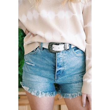 CRVY Vintage High Rise Cut Off Shorts, Hightide Blue   Free People