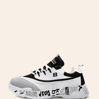 Men Slogan Print Sole Trainers