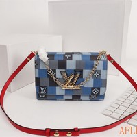 HCXX 19Aug 1106 Louis Vuitton LV M50281 Twist Denim Chain Flap Bag Fashion Baguette Bag 23-18-8cm