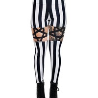 Goth Night circus Inverted Pentagram Harness Garter strap High Waist Black & White Stripe Leggings