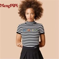 Mengpipi Harjuku Letters UNIF Embroidery Stripped Knitted Tshirts Women Summer Slim Cropped Tops Feminino Shirt s m