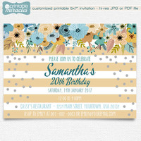Floral Birthday Invitation Card, Striped Brown blue and silver teen birthday invite with flowers