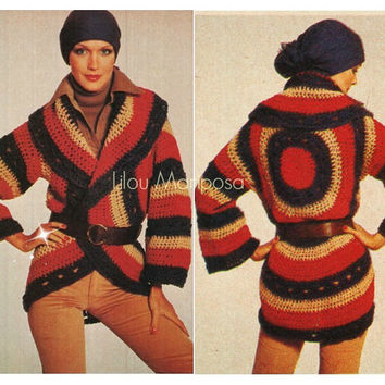 Crochet Cardigan Pattern Vintage 70s Tricolor Circle Wrap Cardigan Boho Crochet Sweater Pattern Crochet Coat Jacket Instant Download