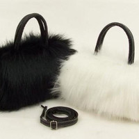 Womens Girls Trendy Faux Rabbit Fur Clutch Shoulder Bag Purse Handbag Tote New [XH] [7669130630]