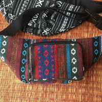 Ethnic Tribal Fanny pack bum bag Boho pattern fabric belt belly festival Pouch Travel cycling phanny waist Hippies Bohemian men red blue