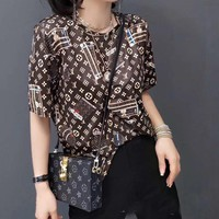 """LOUIS VUITTON"" Woman's Leisure  Fashion Letter Personality Printing  Short Sleeve Shorts Two-piece set"