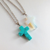 """20"""" Cross necklace, opal cross, turquoise cross, natural stone pendant necklace, stocking stuffers, christmas gifts, birthday gifts, boho"""