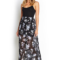 FOREVER 21 Floral Chiffon Maxi Dress Black/Purple
